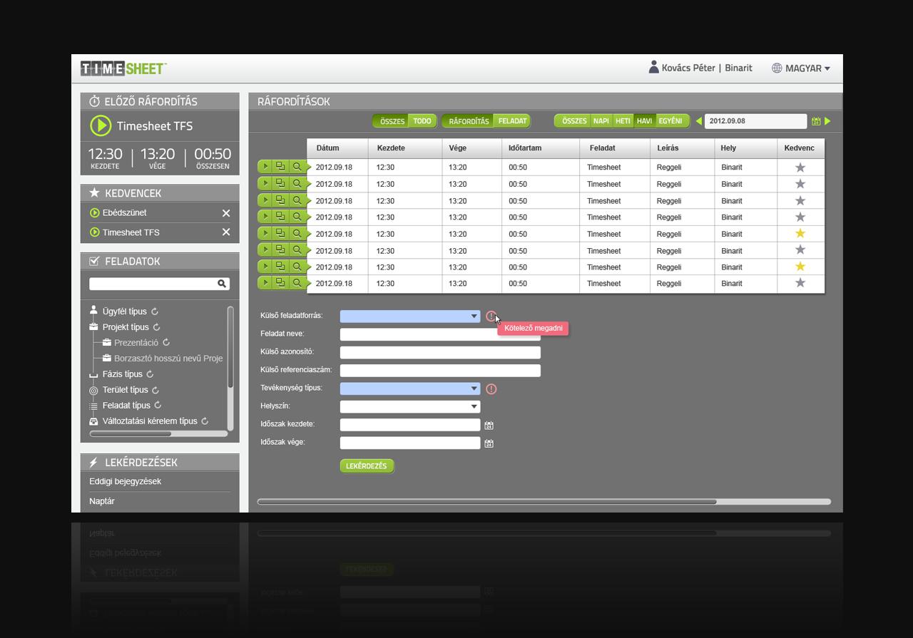 Timesheet user interface