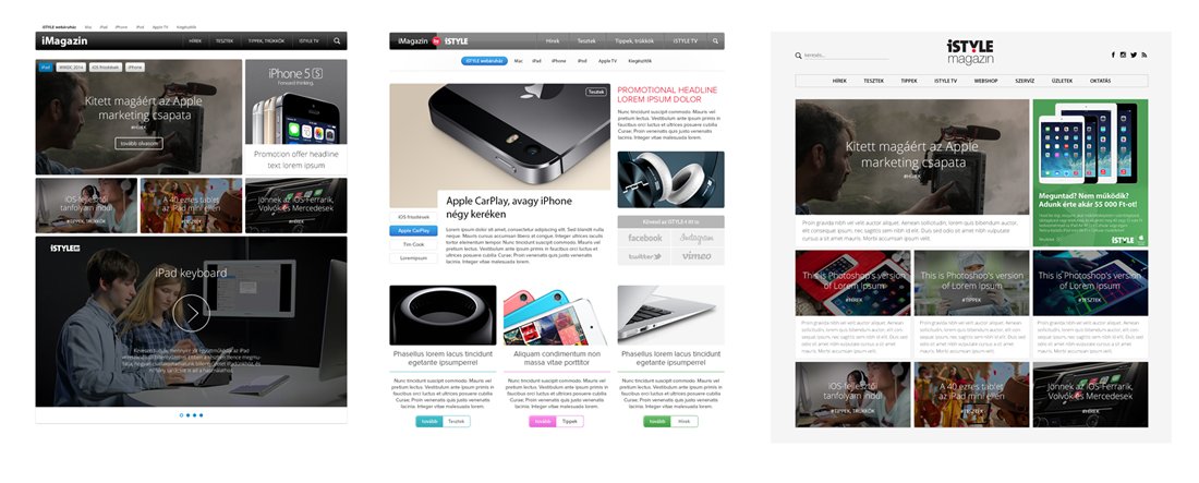 iMagazin design koncepció