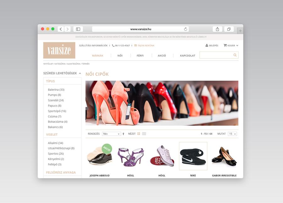 Vansize webshop