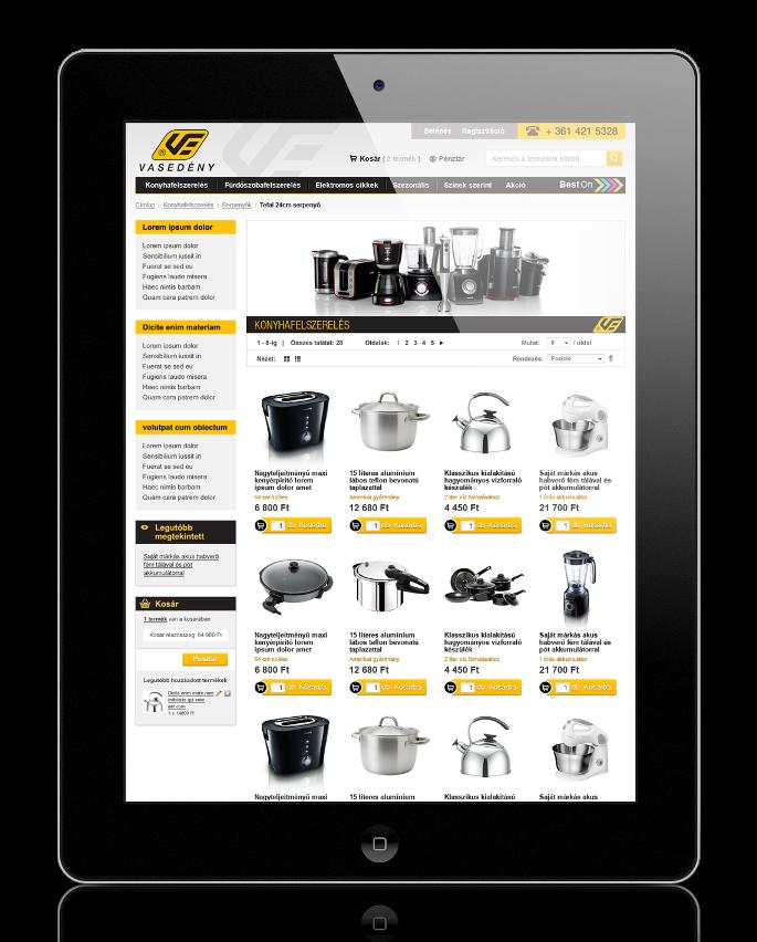 Vasedény Magento webáruház fejlesztés